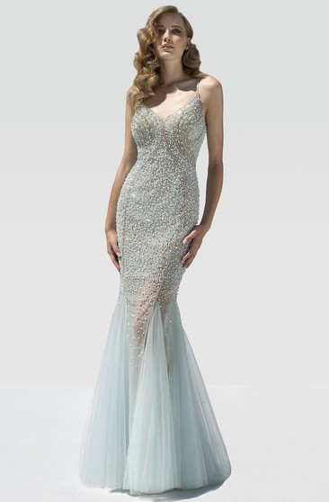 Mermaid Floor-Length Spaghetti Sleeveless Tulle Beading Ruffles Backless Dress