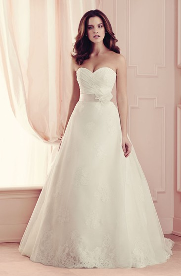 Sleeveless Sweetheart A-line Dress With V Back And Sash