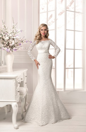 Long Sleeve Crystal Detailing Sheath Lace Floor Length Dress