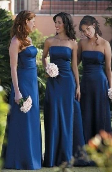 A-line Strapless Ruffles Sleeveless Floor-length Satin Bridesmaid Dresses