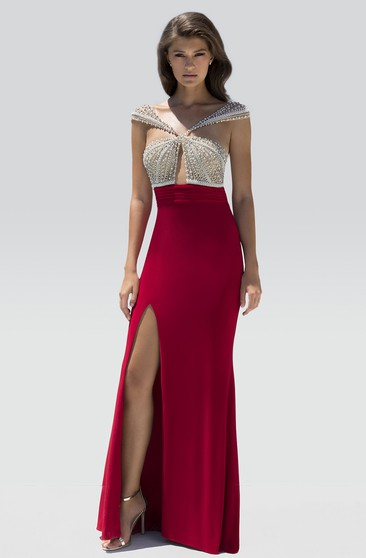 Sheath Floor-Length V-Neck Cap-Sleeve Jersey Split Front Beading Straps Dress
