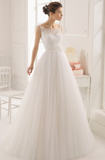 Dreaming Sleeveless A-Line Tulle Long Dress With Baeau Neckline