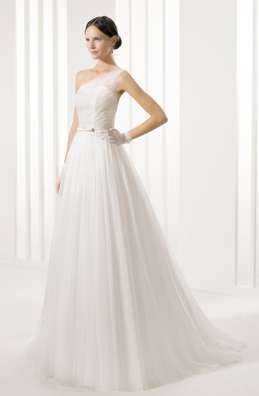 One-Shoulder Tulle Pleated Dress With Slim Belt