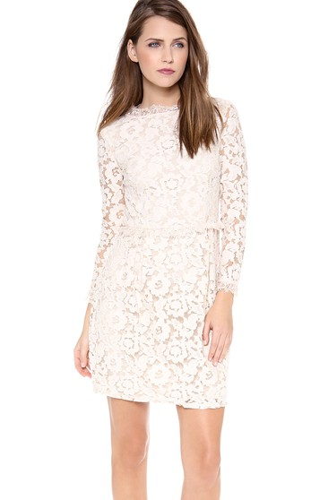 Short Long-sleeved Scooped Sheath Lace Dress