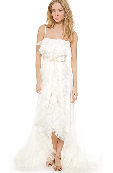 High-low Spaghetti A-line Organza Dress With Ruffles