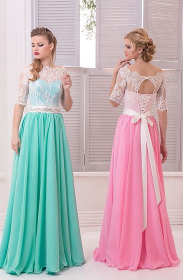A-Line Floor-Length Sweep Scalloped Half Sleeve Chiffon Lace Beading Lace-Up Dress