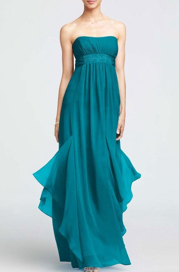 A-line Maxi Strapless Sleeveless Zipper Chiffon Dress
