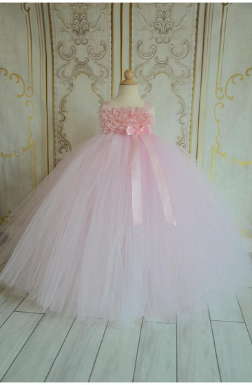 Floral Bodice Empire Tulle Ball Gown With Bows