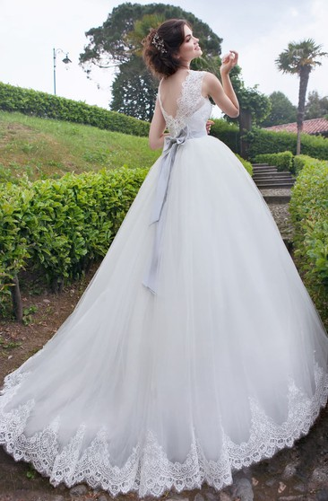 A-Line Floor-Length Jewel-Neck Sleeveless Zipper Organza Dress With Sash And Beading
