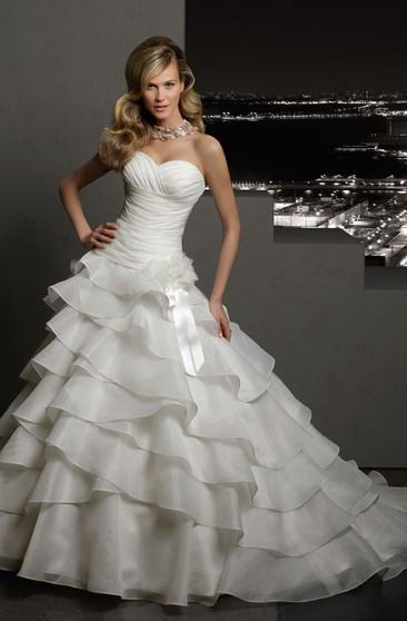 A-Line Long Sweetheart Sleeveless Lace-Up Organza Dress With Tiers And Flower
