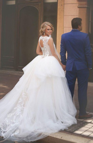 A-Line Ball Gown Empire Mini Jewel Bell Empire Dropped Appliques Cathedral Train Tulle Dress