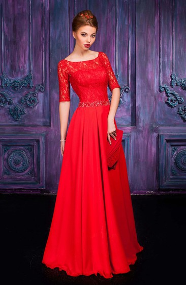 A-line Floor-length Jewel Half Sleeve Chiffon Zipper Dress