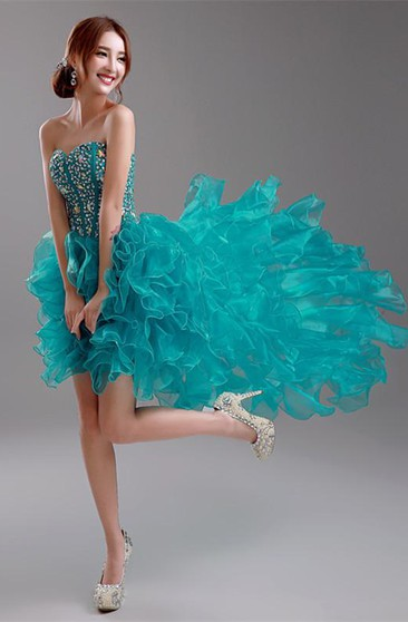 Sexy Ruffles Crystals Hi-Lo Prom Dress 2016 Sweep Train Sweetheart