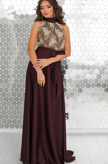 A-Line Floor-Length Halter Sleeveless Jersey Pleats Lace Backless Dress