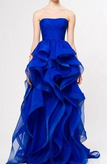 A-line Strapless Zipper Satin Dress with Ruffles
