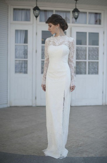 Long Sleeve Sheath Lace Dress With High Neck and Side Slit