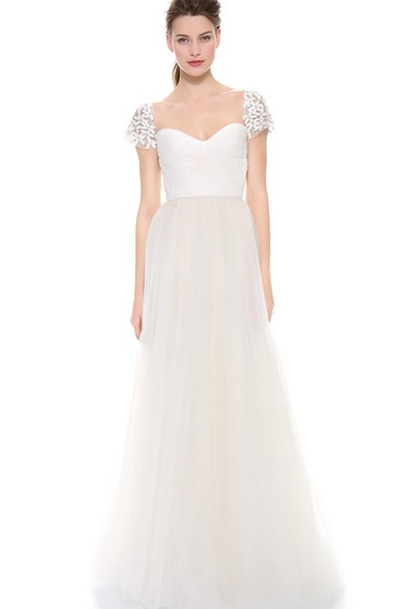 Long Queen Anne A-line Organza Dress With Beaded Flower