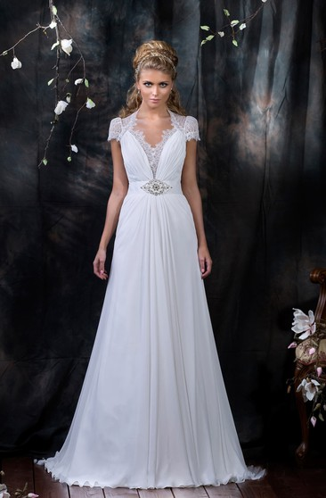 A-Line Floor-Length V-Neck Cap-Sleeve Illusion Chiffon Dress With Lace And Beading