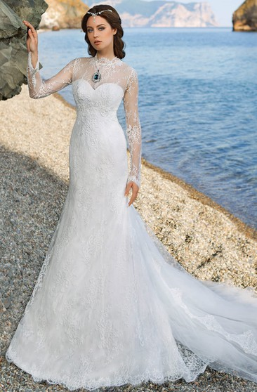 Sheath Floor-Length High-Neck Long-Sleeve Illusion Tulle Dress With Lace