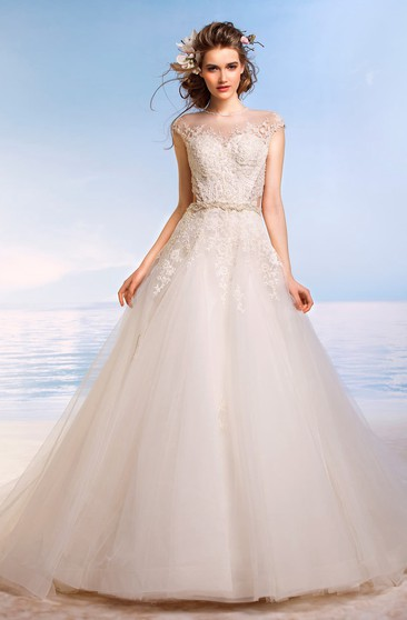 A-Line Long Jewel Cap-Sleeve Keyhole Tulle Dress With Appliques And Beading