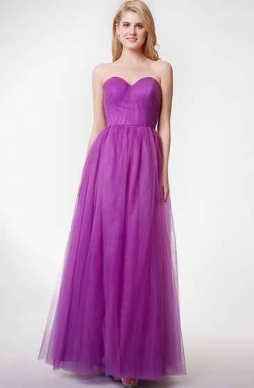6da3b3fcab1 Floor-length A-line Pleated Dress with Appliques - Dorris Wedding