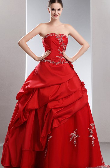 Flamboyant Taffeta Tiered A-Line Ball Gown With Beading and Embroideries