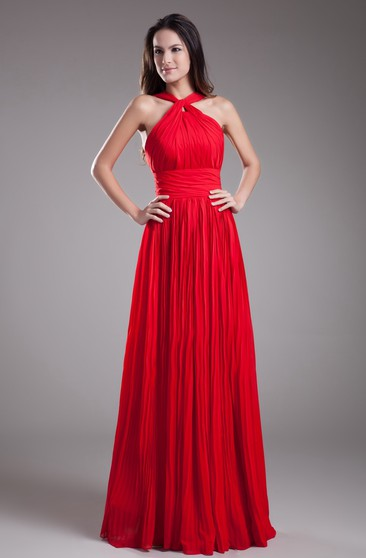 Sleeveless A-Line Floor-Length Ruched Zipper Back and Dress With Pleats