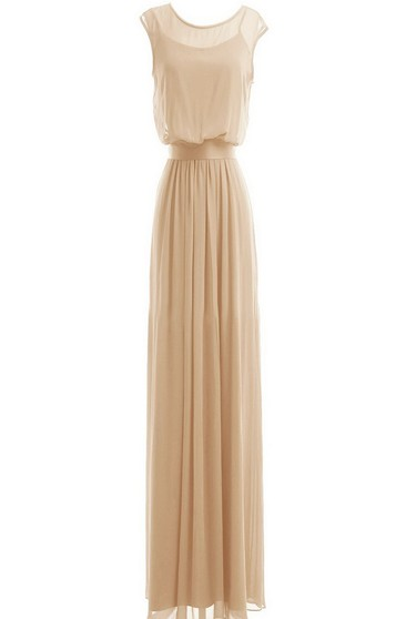 Cap-sleeved Long Gown With Dropped Bodice