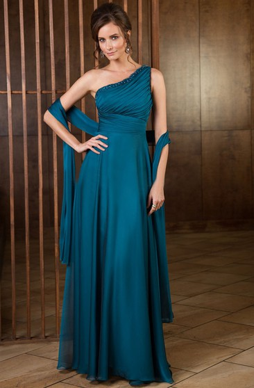 5f807738f10 One-Shoulder A-Line Long Mother Of The Bride Dress With Shawl And Sequins