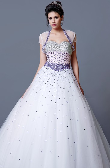 Eclectic Ombre-beaded Sweetheart Layered Tulle Quinceanera Ball Gown With Bolero