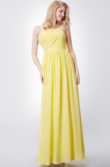 Unique Spaghetti Straps A-line Chiffon Long Dress