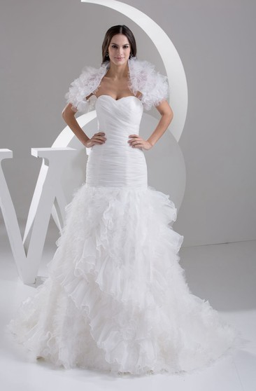 ba7ac58138 Refined Sweetheart Ruched A-Line Dress With Ruffles and Bolero