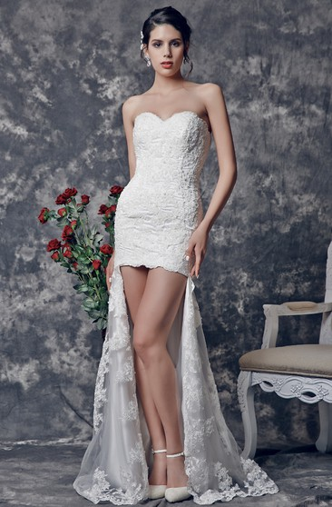 Sweetheart High-low Lace Wedding Dress