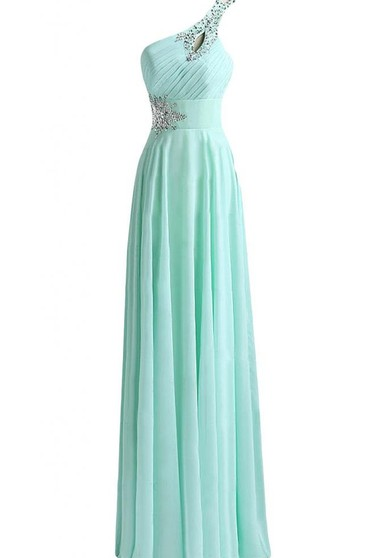 One-shoulder Beaded Chiffon A-line Gown With Lace-up Back