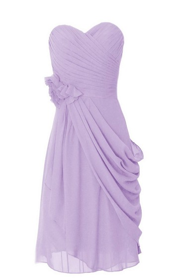 Sweetheart Short Draped Chiffon Dress With Flower