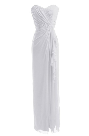 Sweetheart Asymmetrical Ruched Long Pleated Chiffon Dress