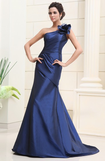 Taffeta One-Shoulder Dress With Side-Draping and Flower