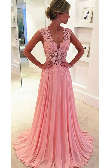 Beautiful Pink Sleeveless Lace Appliques Prom Dresses 2016 Long Chiffon