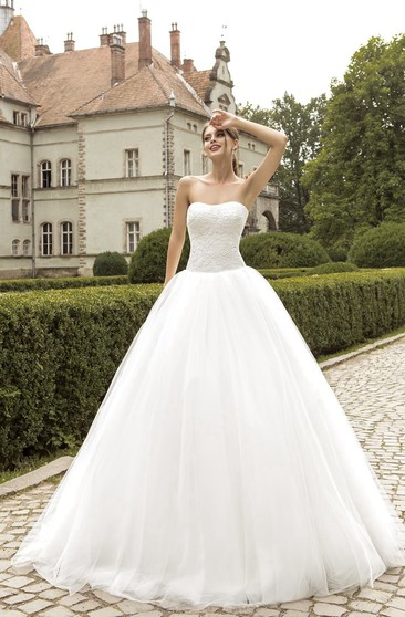 Ball Gown Floor-length Strapless Lace Top Tulle Dress