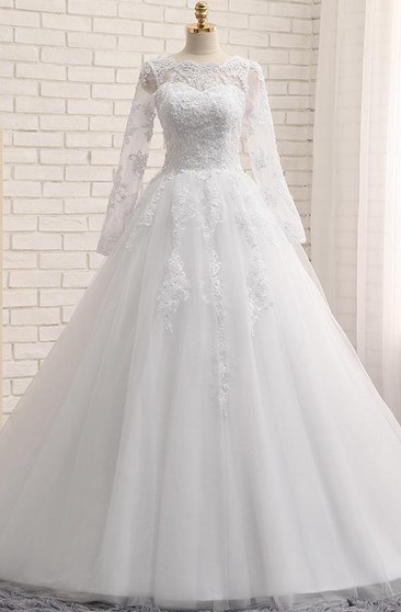 A-Line Long Jewel Long Sleeve Appliques Chapel Train Zipper Lace-Up Back Tulle Lace Sequins Dress