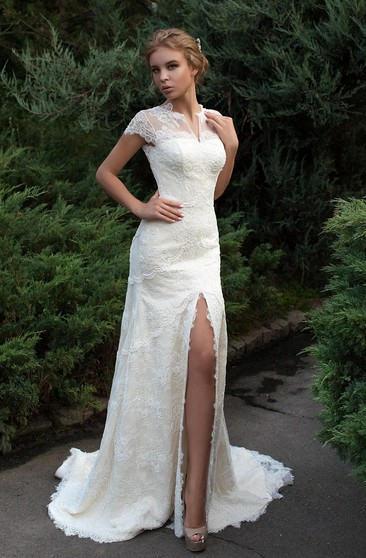 Sheath Floor-Length Jewel Cap-Sleeve Low-V-Back Lace Dress With Split Front And Tiers
