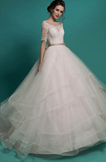 Ball Gown Long Scoop-Neck Illusion-Sleeve Illusion Tulle Dress With Tiers And Lace Appliques