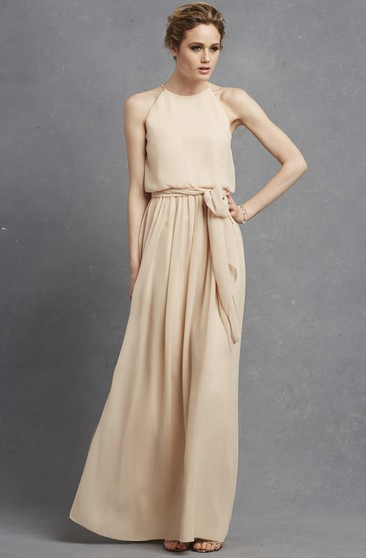 Long-Chiffon Lavish Dress With Jewel Neck