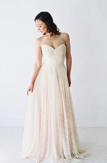 Pleated Lace Sweetheart A-Line Gown With Lace-Up Back