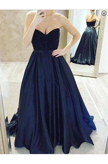 Elegant Sweetheart Beadings Prom Dresses 2016 A-Line Party Gowns