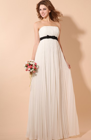 Strapless Empire Chiffon Dress With Satin Sash and Pleating