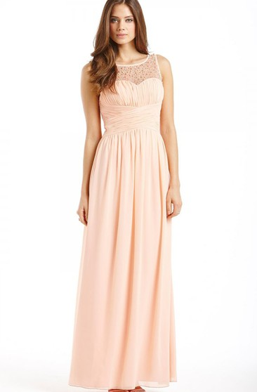 Long Empire Sleeveless Dress With Beadings