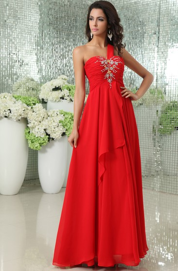 Sexy One-Shoulder Sweetheart Layered Chiffon Gown With Lace Up