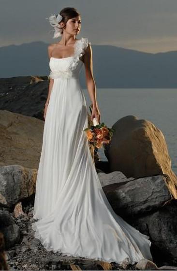 Sheath One Shoulder Hand Made Flowers Chiffon Wedding Dress