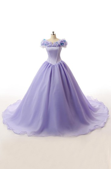 Ball Gown Long Ruffles Lace-Up Back Lace Organza Satin Dress